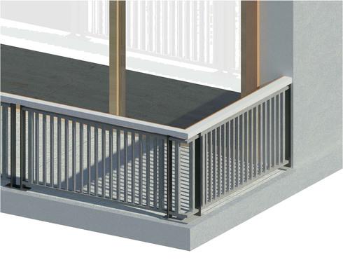barandilla con bastidor de dos parantes de pletina fijos al suelo y paneles compuestos por un enrejado vertical de barras cuadradas entre dos